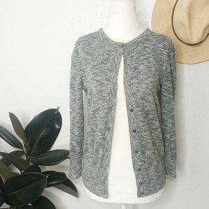 Ann Taylor LOFT Gray Button Down Cardigan Sweater